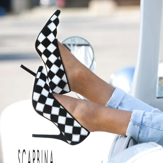 Pointed toe stiletto heel and black amp white leather Takehellip